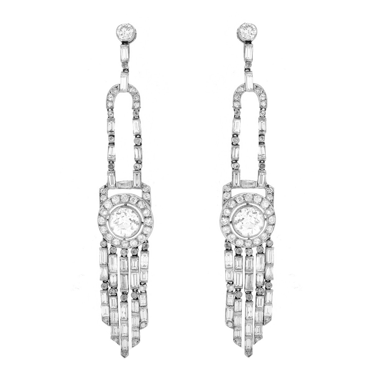 13.0ct TW Diamond and Platinum Earrings