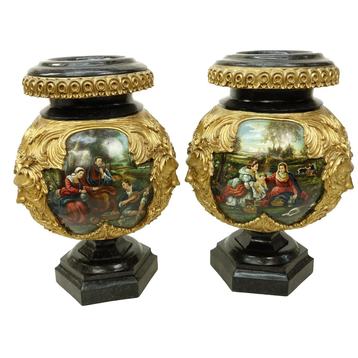 Pair Monumental Hand Painted Decorative Urns
