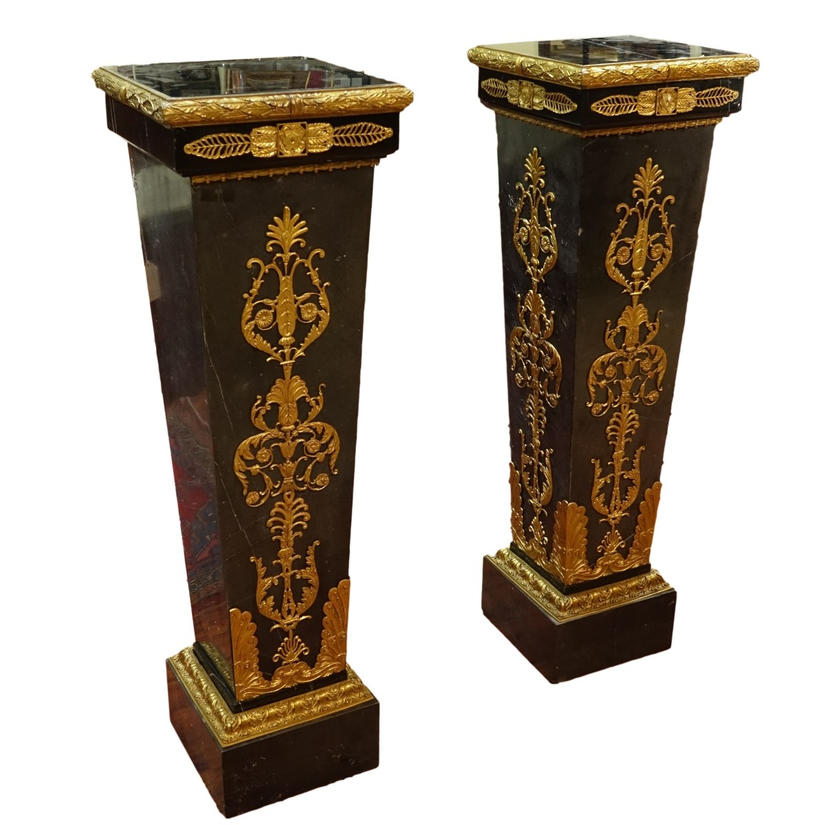 Pair Monumental Palace Marble Pedestals