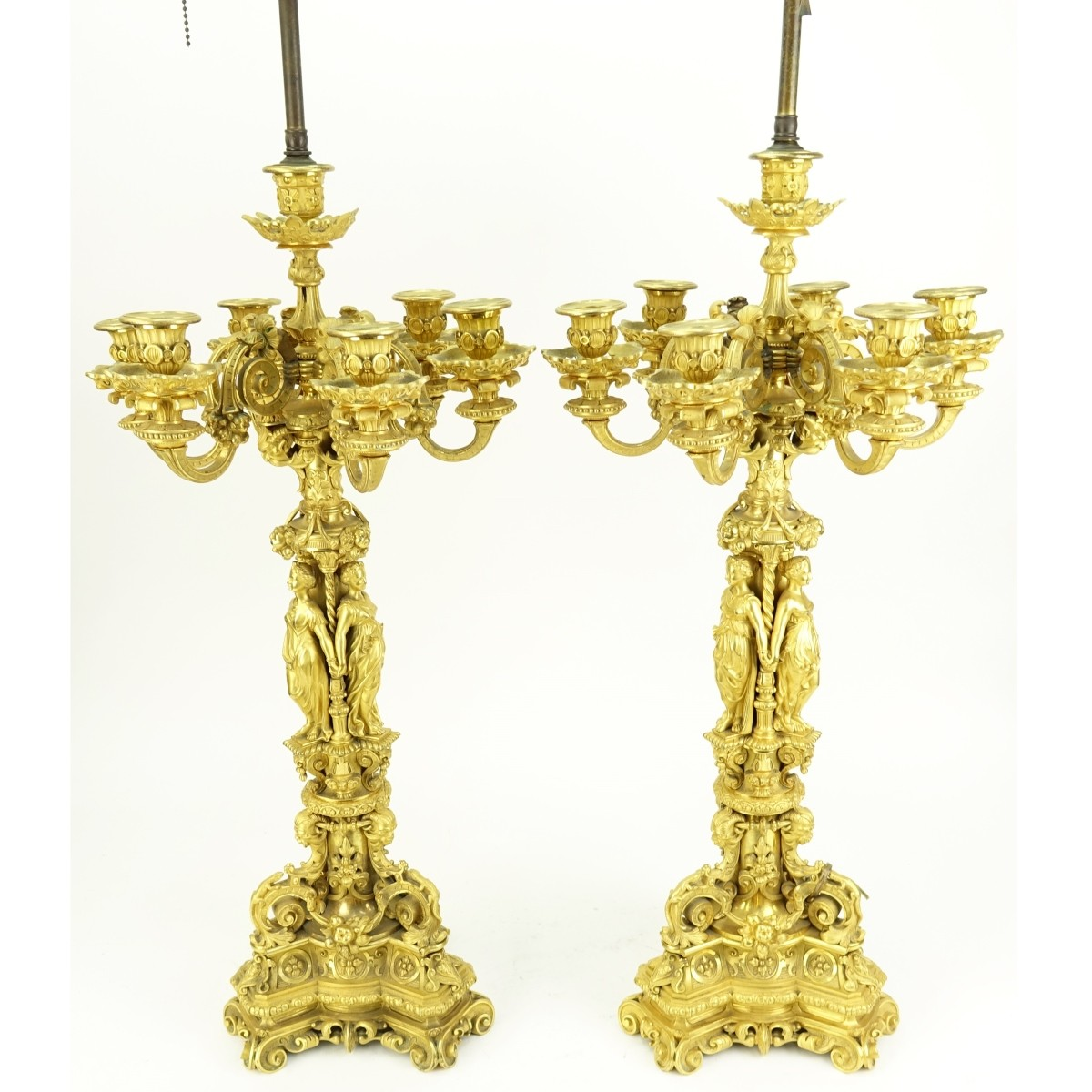 Pair of French Gilt Bronze Candelabra w Figures
