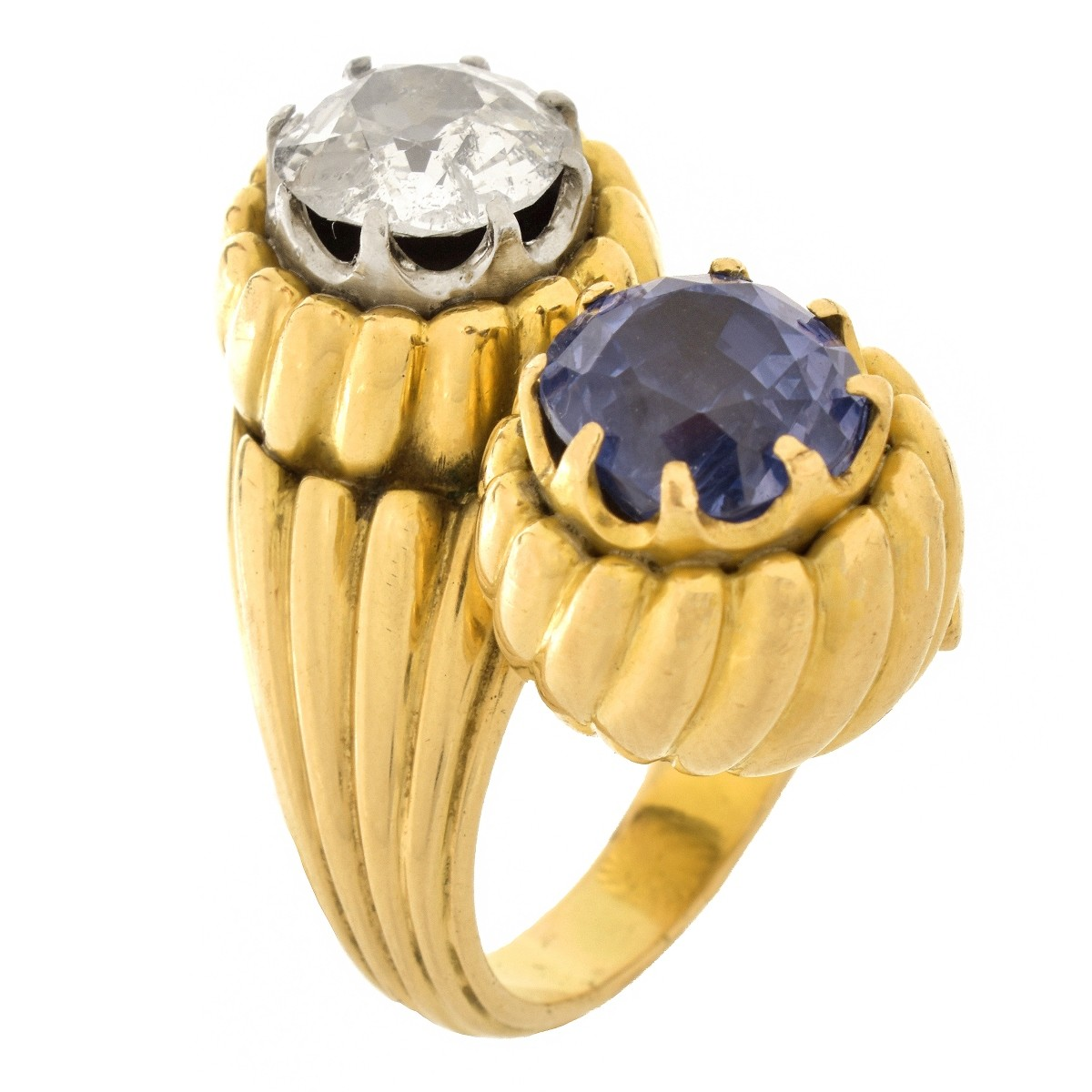 Vintage Diamond, Sapphire and 18K Ring