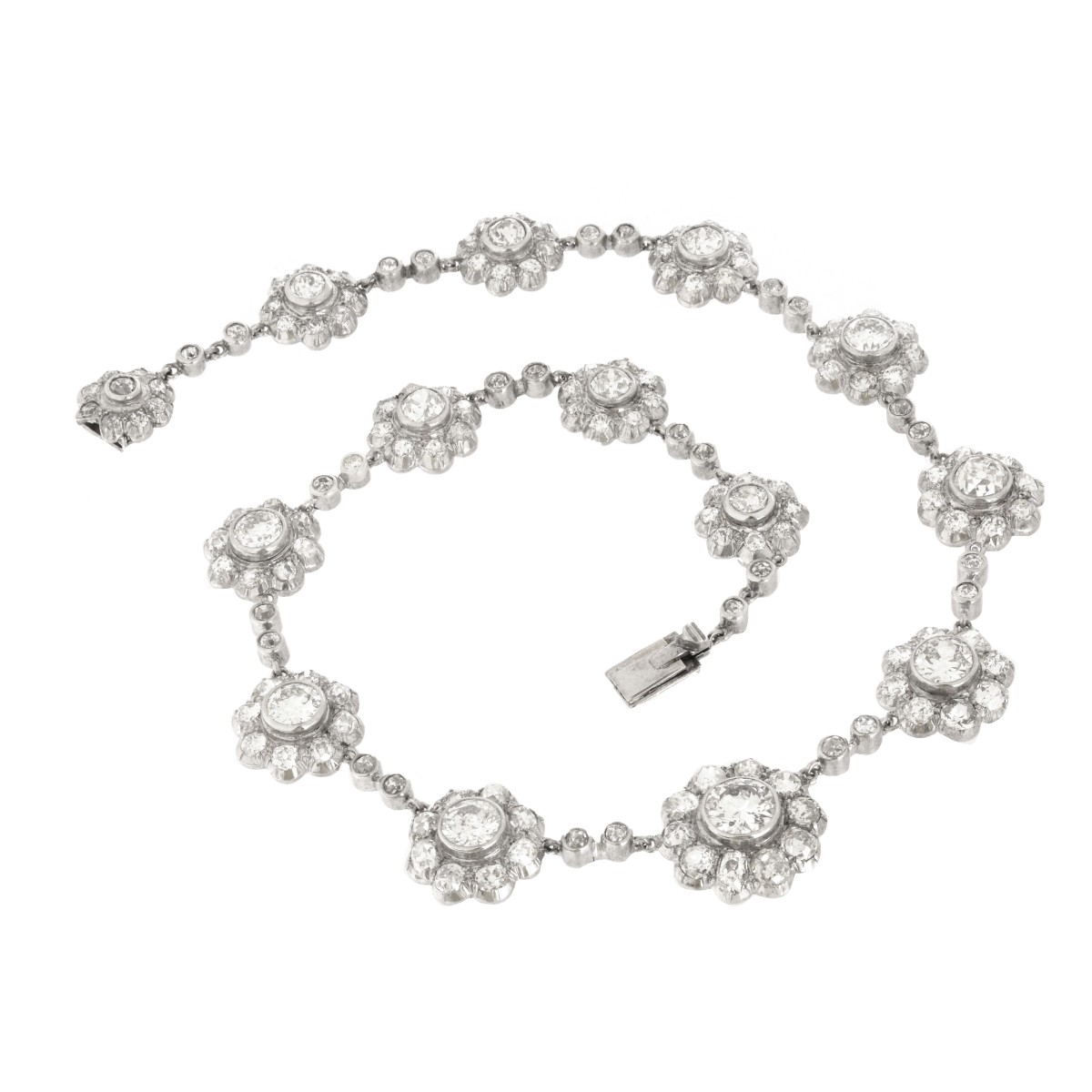 Antique Diamond and Platinum Necklace